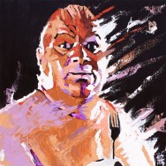"Abdullah the Butcher - Acrylic on 24"" x 24"" wood"