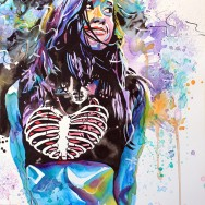 "AJ Lee - Ink, watercolor, dye and acrylic on 22"" x 30"" watercolor paper"