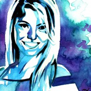 "Alexa Bliss - Ink and watercolor on 9"" x 12"" watercolor paper"