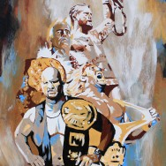 "Austin, Hogan, Flair and CM Punk - Acrylic on 16"" x 20"" board"