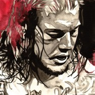 "Baron Corbin - Ink and watercolor on 9"" x 12"" watercolor paper"