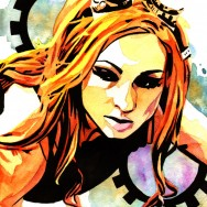 "Becky Lynch - Ink and watercolor on 9"" x 12"" watercolor paper"