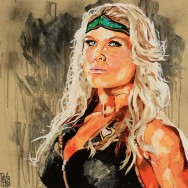 "Beth Phoenix - Acrylic and spray on 24"" x 24"" wood"