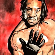 "Booker T - Ink and watercolor on 9"" x 12"" watercolor paper"