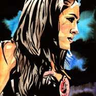 "Brie Bella - Ink and watercolor on 9"" x 12"" watercolor paper"