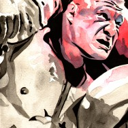 "Brock Lesnar - Ink and watercolor on 9"" x 12"" watercolor paper"