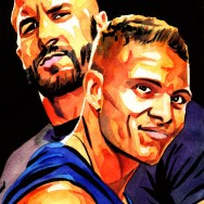 "Cesaro and Tyson Kidd - Ink and watercolor on 9"" x 12"" watercolor paper"
