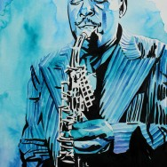 "Charlie Parker - Ink and watercolor on 12"" x 18"" watercolor paper"