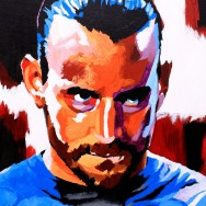 "CM Punk - Acrylic on 16"" x 20"" board"