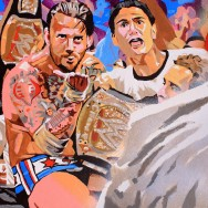 "CM Punk - Acrylic on 20"" x 16"" board"