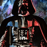 "Darth Vader - Ink and watercolor on 12"" x 18"" watercolor paper"