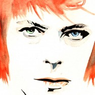 "David Bowie - Ink and watercolor on 9"" x 12"" watercolor paper"