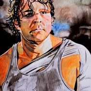 "Dean Ambrose - Ink and watercolor on 18"" x 24"" watercolor paper"
