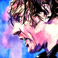 "Dean Ambrose - Ink and watercolor on 9"" x 12"" watercolor paper"