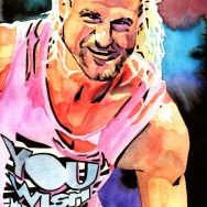 "Dolph Ziggler - Ink and watercolor on 9"" x 12"" watercolor paper"