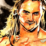 "Drew McIntyre - Ink and watercolor on 9"" x 12"" watercolor paper"