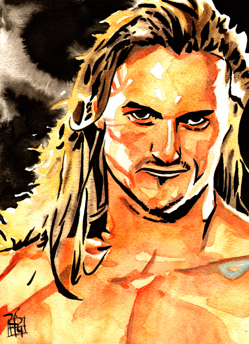 """Drew McIntyre - Ink and watercolor on 9"""" x 12"""" watercolor paper"""
