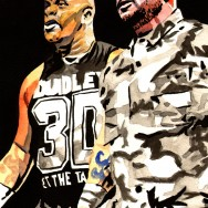 "The Dudley Boyz - Ink and watercolor on 9"" x 12"" watercolor paper"