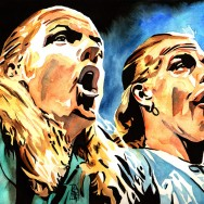 "D-Generation X (Triple H and Shawn Michaels) - Ink and watercolor on 18"" x 12"" watercolor paper"