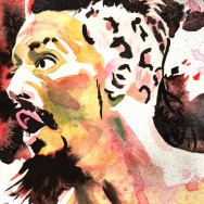 "Enzo Amore - Ink, spray, dye and watercolor on 9"" x 12"" watercolor paper"