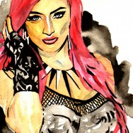 """Eva Marie - Ink and watercolor on 9"""" x 12"""" watercolor paper"""