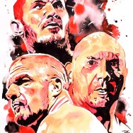 "Evolution: Randy Orton, Batista and Triple H - Ink and liquid acrylic on 22"" x 30"" watercolor paper"