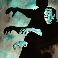 "Frankenstein - Ink and watercolor on 9"" x 12"" watercolor paper"