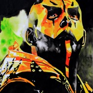 "Goldust - Ink and liquid acrylic on 22"" x 30"" watercolor paper"