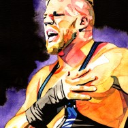 "Jack Swagger - Ink and watercolor on 9"" x 12"" watercolor paper"