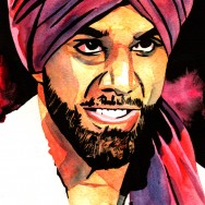 "Jinder Mahal - Ink and watercolor on 9"" x 12"" watercolor paper"