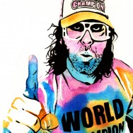 "Judah Friedlander - Ink and watercolor on 9"" x 12"" watercolor paper"