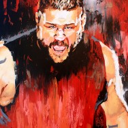 "Kevin Owens - Acrylic and spray on 30"" x 40"" canvas"