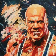 "Kurt Angle - Acrylic and spray on 24"" x 24"" wood"