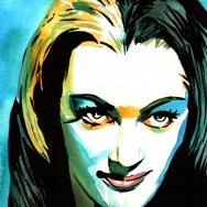 "Lily Munster - Ink and watercolor on 9"" x 12"" watercolor paper"