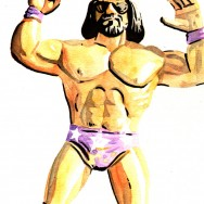 "LJN Macho Man - Ink and watercolor on 9"" x 12"" watercolor paper"