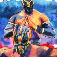 "Lucha Dragons: Sin Cara and Kalisto - Liquid acrylic, dye and watercolor on 9"" x 12"" watercolor paper"