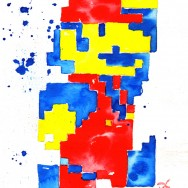 "Mario - Ink and liquid acrylic on 9"" x 12"" watercolor paper"