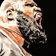 "Mark Henry - Ink and watercolor on 9"" x 12"" watercolor paper"