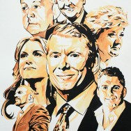 "The McMahon Family - Ink and watercolor on 22"" x 30"" watercolor paper"