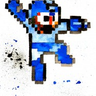 "Mega Man - Ink and liquid acrylic on 9"" x 12"" watercolor paper"