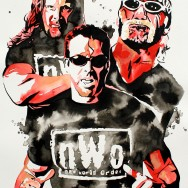 "The NWO: Kevin Nash, Scott Hall and Hollywood Hulk Hogan - Ink and liquid acrylic on 22"" x 30"" watercolor paper"