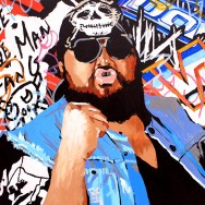 "One Man Gang - Acrylic and paint marker on 24"" x 24"" wood"