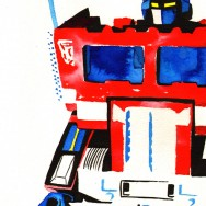 "Optimus Prime - Ink and liquid acrylic on 9"" x 12"" watercolor paper"
