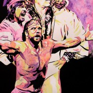 "The Poffo Family - Ink, watercolor, and dye on 22"" x 30"" watercolor paper"