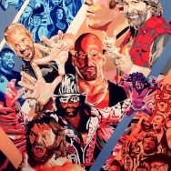 "Pro Wrestling Tees - Acrylic on 36"" x 48"" canvas"