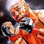 "Randy Couture - Acrylic and spray on 24"" x 24"" wood"