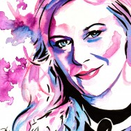 "Renee Young - Ink and watercolor on 9"" x 12"" watercolor paper"