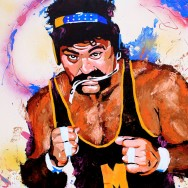 "Rick Steiner - Acrylic, oil and spray on 24"" x 24"" wood"