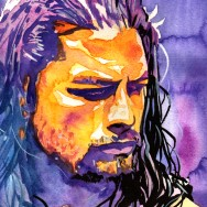 "Roman Reigns - Ink, acrylic and watercolor on 9"" x 12"" watercolor paper"