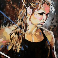 "Ronda Rousey - Acrylic and spray on 30"" x 40"" canvas"